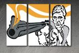 "Scarface - ""The GUN"" 3 panel POP ART on canvas"