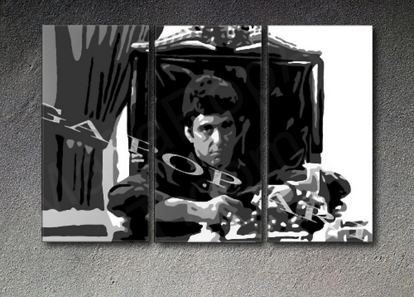 Scarface - Tony Montana 3 panel POP ART on canvas