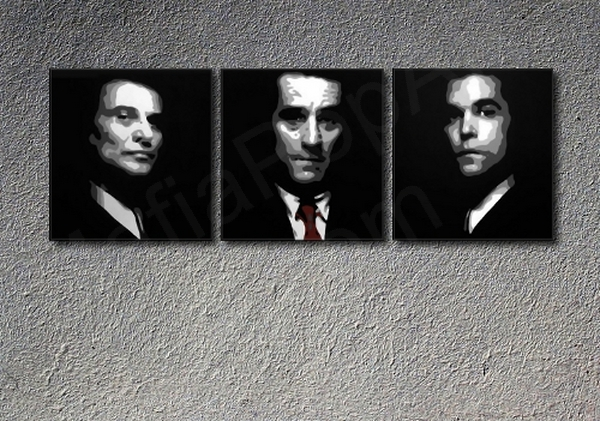 "GoodFellas ""Faces"" Robert De Niro 3 panel POP ART on canvas"
