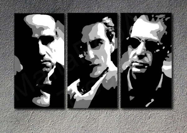The Godfather I-III Al Pacino, Marlon Brando  3 panel canvas ART