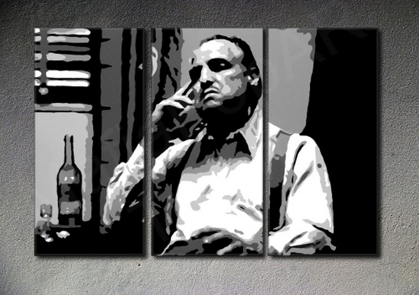 The Godfather Vito Corleone Marlon Brando 3 panel canvas ART