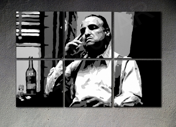 The Godfather Vito Corleone XXL Marlon Brando canvas ART 6 panel