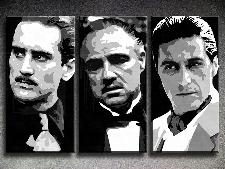 The Godfather I. II. III. 3 panel POP ART on canvas
