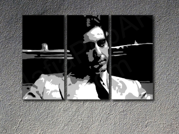 "The Godfather ""young"" Al Pacino, 3 panel canvas ART"