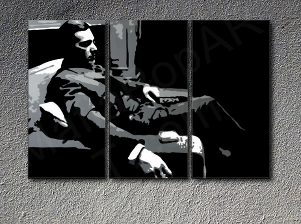 The Godfather M. Corleone Al Pacino  3 panel canvas ART