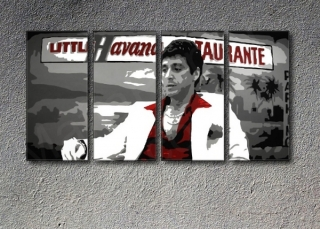 Scarface - Havana 4 panel POP ART on canvas