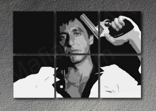 Scarface - AL PACINO 6 panel POP ART on canvas