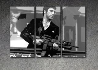 "Scarface - AL PACINO ""THE END"" 3 panel POP ART on canvas"